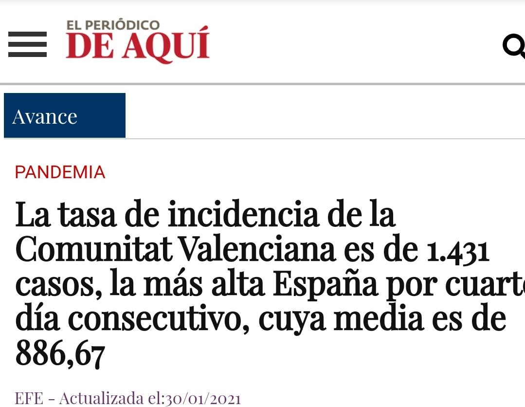 Comunidad Valenciana lideres en contagios